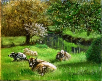 """Cowgirls in Springtime, Oil Painting on Canvas, 10""""x8"""", Framed, FREE SHIPPING"""