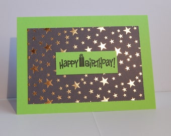 Happy Birthday Card, Green Black and Gold