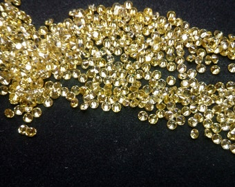 1.5mm Round Cut Yellow Cubic Zirconia 5A Quality. Lot of 100 Stones