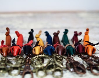 Leather Key Chain - Dachshund Puppy Shape with Italian Buttero Leather