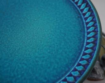Incredible set of 6 Ceramano West Germany Blue Sapphire Diamond salad plates - RARE