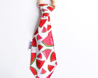 Baby teether necktie, watermelon teething tie, baby necktie wooden teether, watermelon necktie teether, natural wooden teether, teething toy