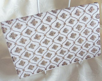 Vintage Ivory White velvet clutch with embroidered goldwork design, made in India