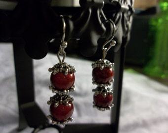 silver, red bead earrings