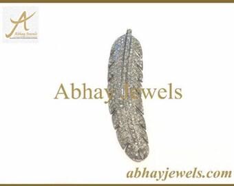 Silver Pave Diamond Leaf Pendent
