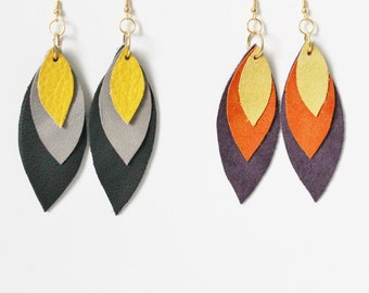Statement Earrings - Grey and Yellow Earrings - Leather Earrings - Leather Feather Earrings - Ready to ship