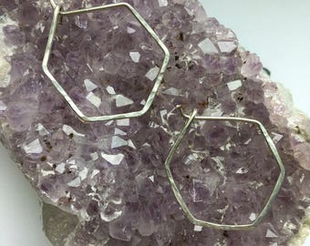 Hammered Hex Hoops