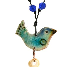 Colorful Blue Bird Necklace~ Ceramic Dove pendant, Peace bird jewelry, Gift for her, Mothers Day Gift, Nature Lover Jewelry, Aqua Boho Bird