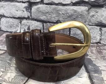 BRIGHTON belt Womens Crocodile 41409 Leather Textured LEEGIN brown