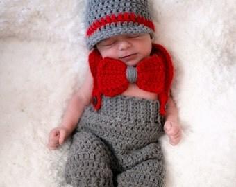 Newborn Crochet Newsboy Hat with matching Suspender Pants and Bow Tie, Crochet Newsboy Hat Set,