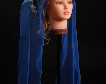 Blue light tulle scarf