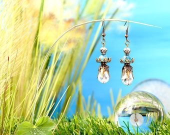 Fairies Dewdrops - earrings / / polished glass beads, faceted beads / drops / transparent / turquoise / bronze / lovely / fantasy