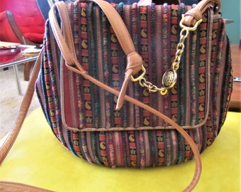 Vintage Sharif Vintage Tapestry Leather Piped Crossbody Bag with Paisley Detailing