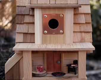 Unique Birdhouse, Solar Birdhouse, Wooden Birdhouse, Mother's Day Gift, Gift for Her, Housewarming Gift, songbird, wren, functional