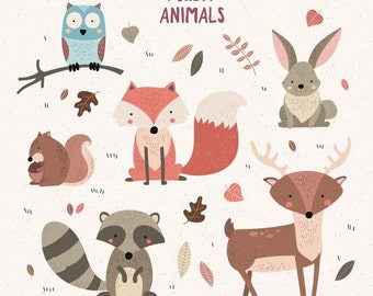 Forrest woodland animals clip art, vector, royalty free clip art- Instant Download