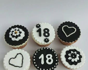 Black and white fondant cupcake toppers