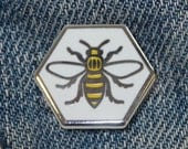 Manchester Bee Enamel Pin Badge - Hard Enamel Nickel Free Metal Brooch - Cute Worker Bee Hexagon Black and Yellow Punk