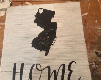 Custom Wooden Sign Home NJ State Silhouette