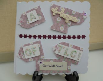 Handmade Get Well Soon Card, a cup of tlc, greeting card, pink floral, FREE POSTAGE,