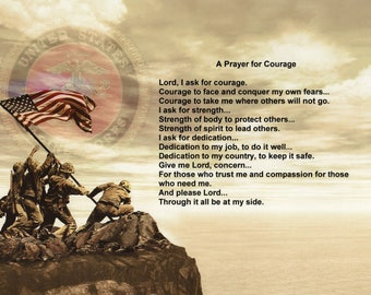 Marines A Prayer for Courage Poem Laser Paper Print Item #2000