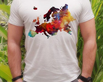 Europe map t-shirt - Map tee - Fashion men's apparel - Colorful printed tee - Gift Idea