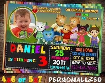 Daniel Tiger invitation, Daniel Tiger birthday invitation, Daniel Tiger party invitation, Daniel Tiger chalkboard invitation, Neighorhood