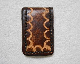 Genuine Leather Brown Magnetic Money Clip With Border Stamp.  Personalized Money Clip