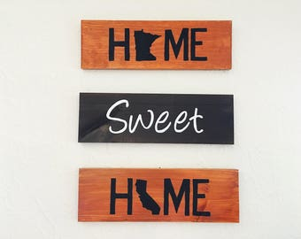 Home Sweet Home Wood Sign,wood sign set  with two states, home state wall decor , hand painted state sign