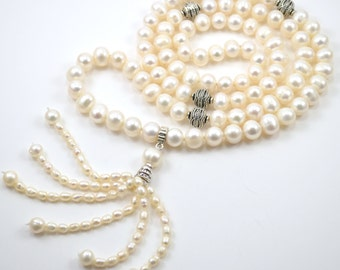 Silk Knotted Mala Pearl Necklace