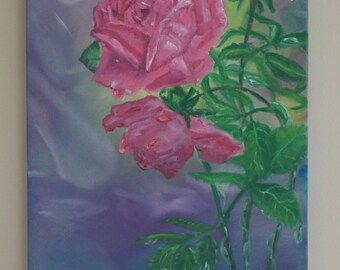 Crimson Roses, original oil painting,