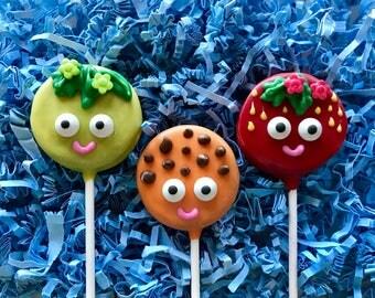 Shopkins Oreo cookie pops / birthday party favor / chocolate covered Oreo / one dozen (12)