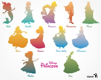 Disney Princess svg, princess clipart, Jasmin svg Tiana svg Rapunzel svg Mulan svg silhouette, eps, png, dxf, pdf. Cut Print Mug Shirt Decal