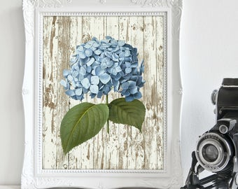 Blue Hydrangea, Rustic, Farmhouse Style Chic, Above Bed Art, Farmhouse Décor, Instant Download, Gift for Her, Home Décor, Printable Art