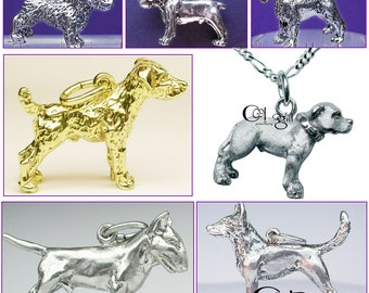 Very detailed Hand-made solid 3D DOG pendant