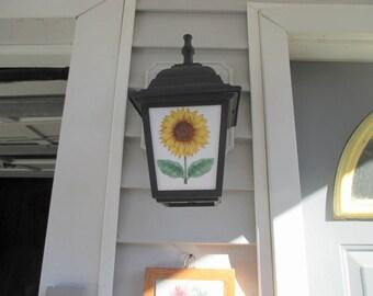 Sunflower, outdoor fixture, porch lamp, lamp post, porch light, light fixture, outdoor lighting, sunflower, home decor, light, lighting