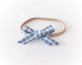 Blue Gingham Baby Bow
