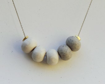 Cinco Necklace: Granite + Pearl
