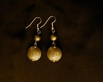 Brass Tiger Striped Earrings