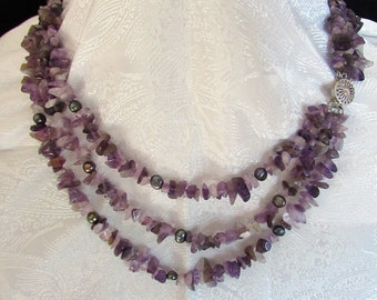 Amethyst and Pearls Necklace - 3 strand