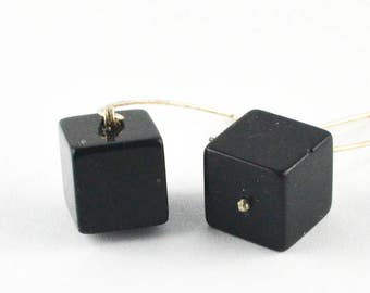 Silver earrings, earrings, sterling silver 925, ONYX, cube, cube, black, black, handmade new
