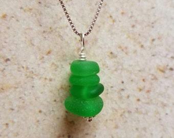 Green Hawaiian Stacked Sea Glass Necklace- FREE SHIPPING!