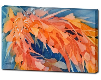 Leather Wrap - Wall Art - Contemporary Art - Floral Painting - Abstract Painting - Canvas Art - Home Decor - Large Wall Art