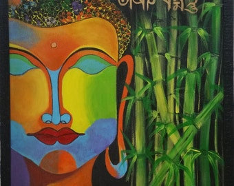 Original Acrylic Abstract Art Painting of Buddha with Bamboos with Tibetan Mantra.