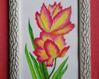 Original watercolor, Fire leaves