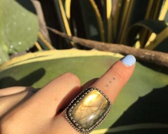 Labradorite goddess ring size 5 1/4