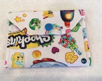 Change wallet, women's wallet, bifold wallet, cotton wallet, handmade wallet, Shopkins