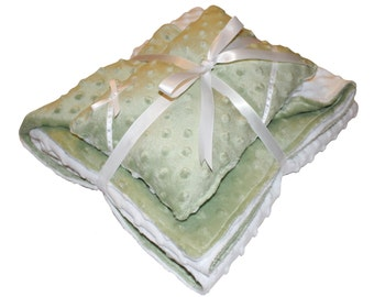 Gender Neutral Reversible Baby Blanket and Pillow