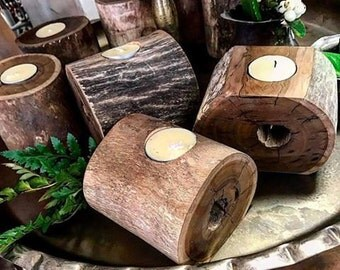 Wood tealight candle holders