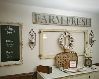 Farm Fresh Sign, Farmhouse, wood sign, farmhouse decor, farmhouse sign, vintage, barn wood, farmhouse wood sign, farm fresh kitchen sign