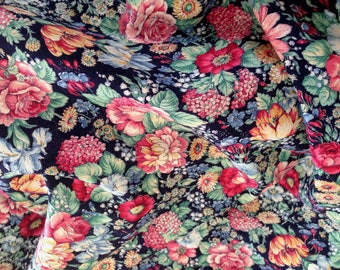 Flower print calico, navy background, rainbow colors, 3 3/4 yards, 44 inches wide